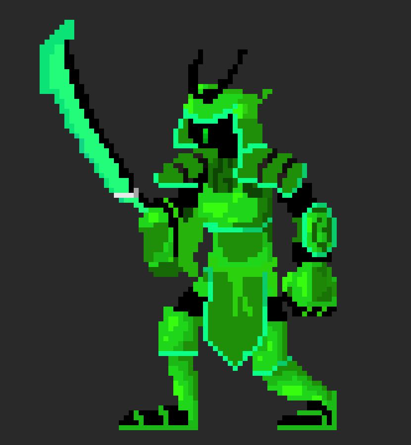 emerald neon samurai form