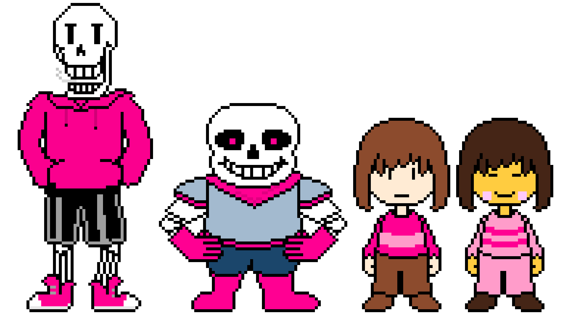 Underswap Papyrus, Sans, Chara, and Frisk (pink)
