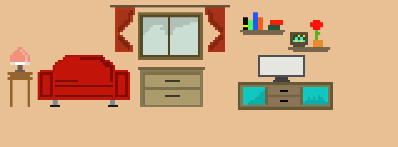 living room pixel art maker