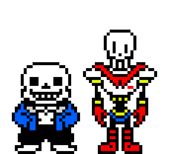 sans and papyrus | Pixel Art Maker
