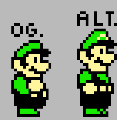 super mario bros 3 luigi pixel art