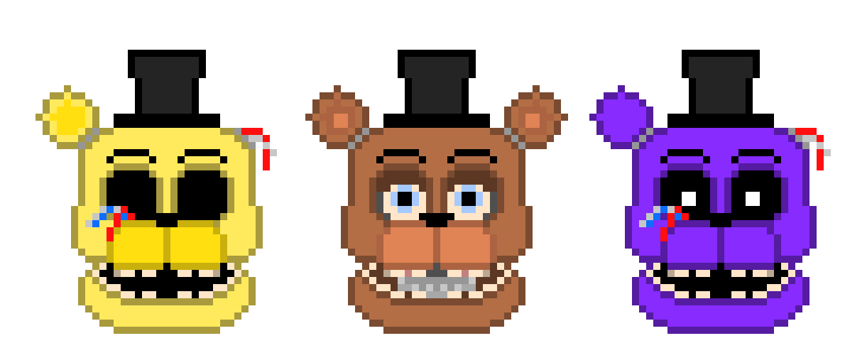 Withered Freddy Golden Freddy and Shadow Freddy Heads | Pixel Art Maker