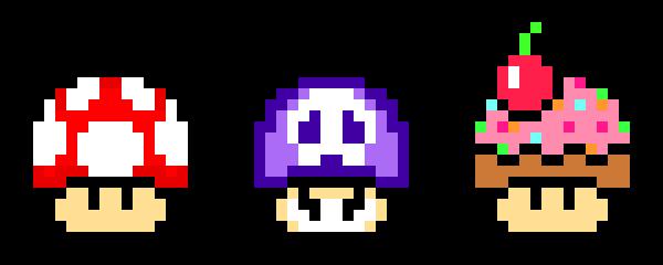 Types Of Mario Mushrooms Pixel Art Maker