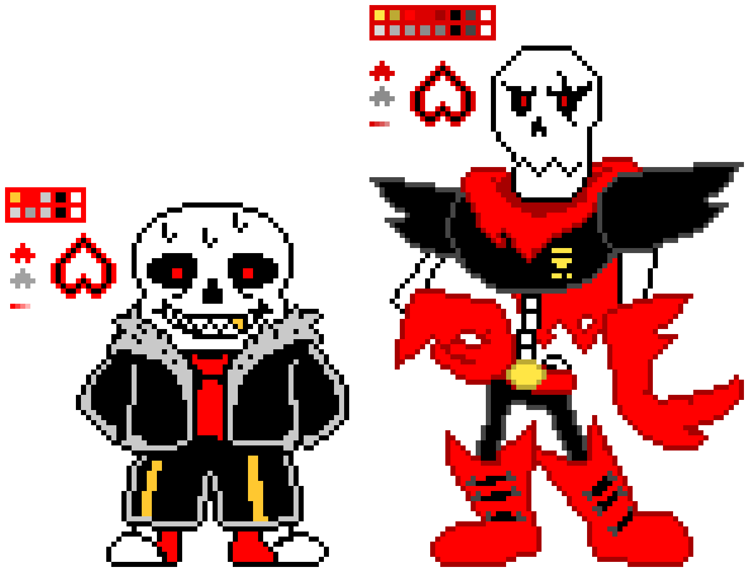Underfell Sans and Papyrus | Pixel Art Maker
