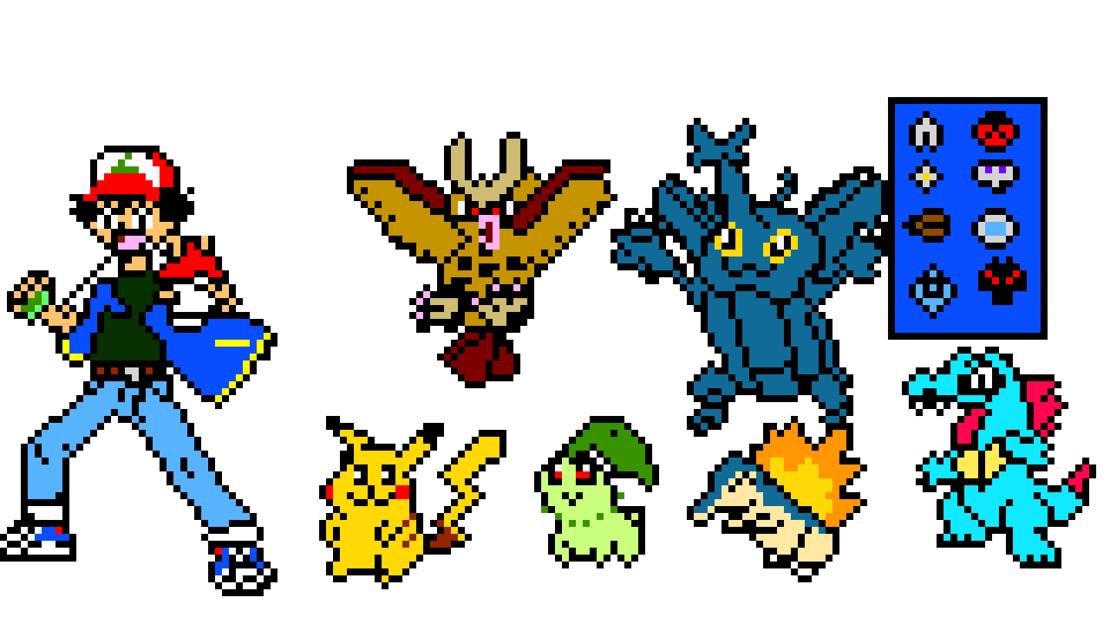 ash team johto pixel art maker