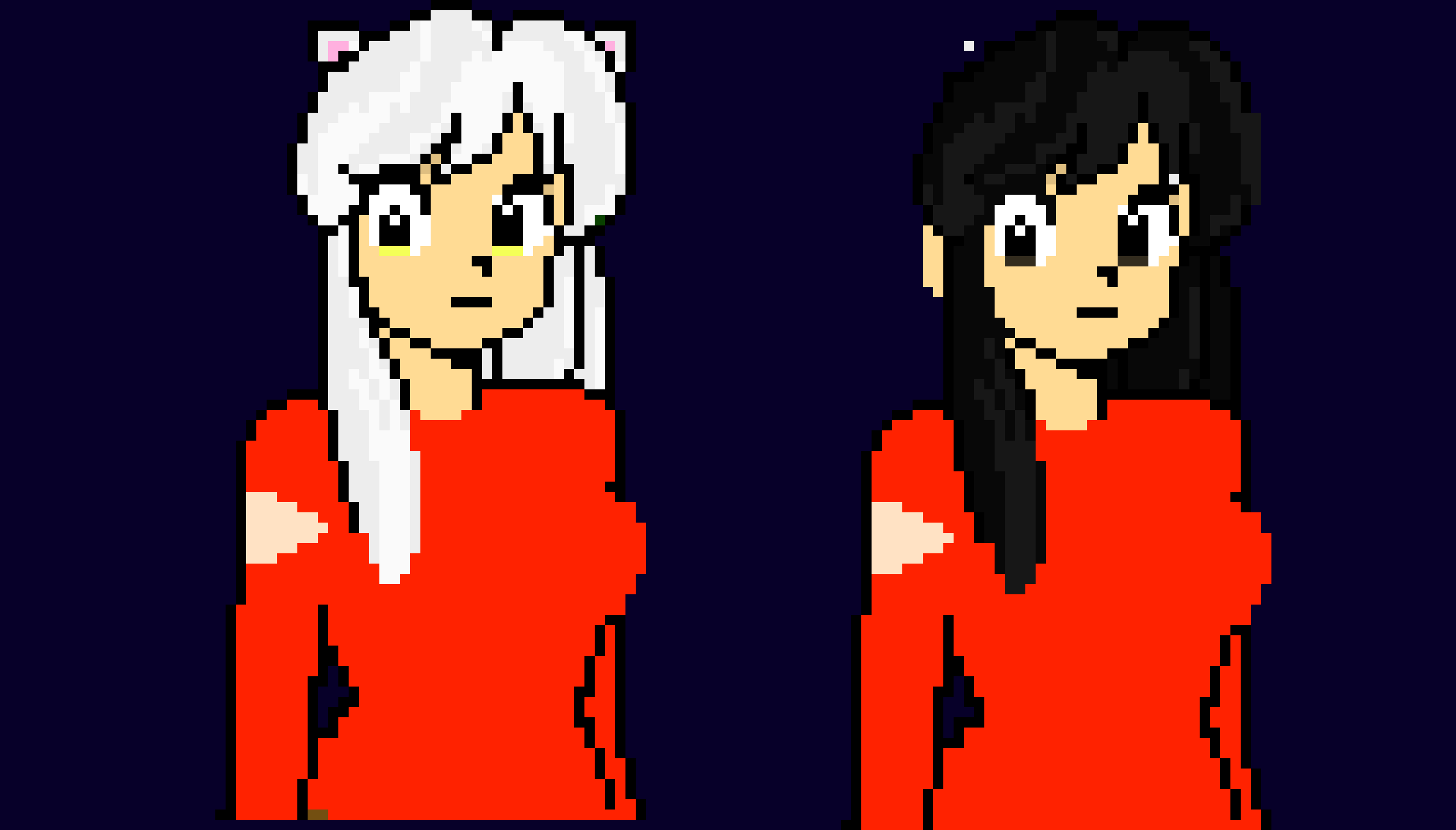 Half Demon Inuyasha Human And Demon Form Pixel Art Maker