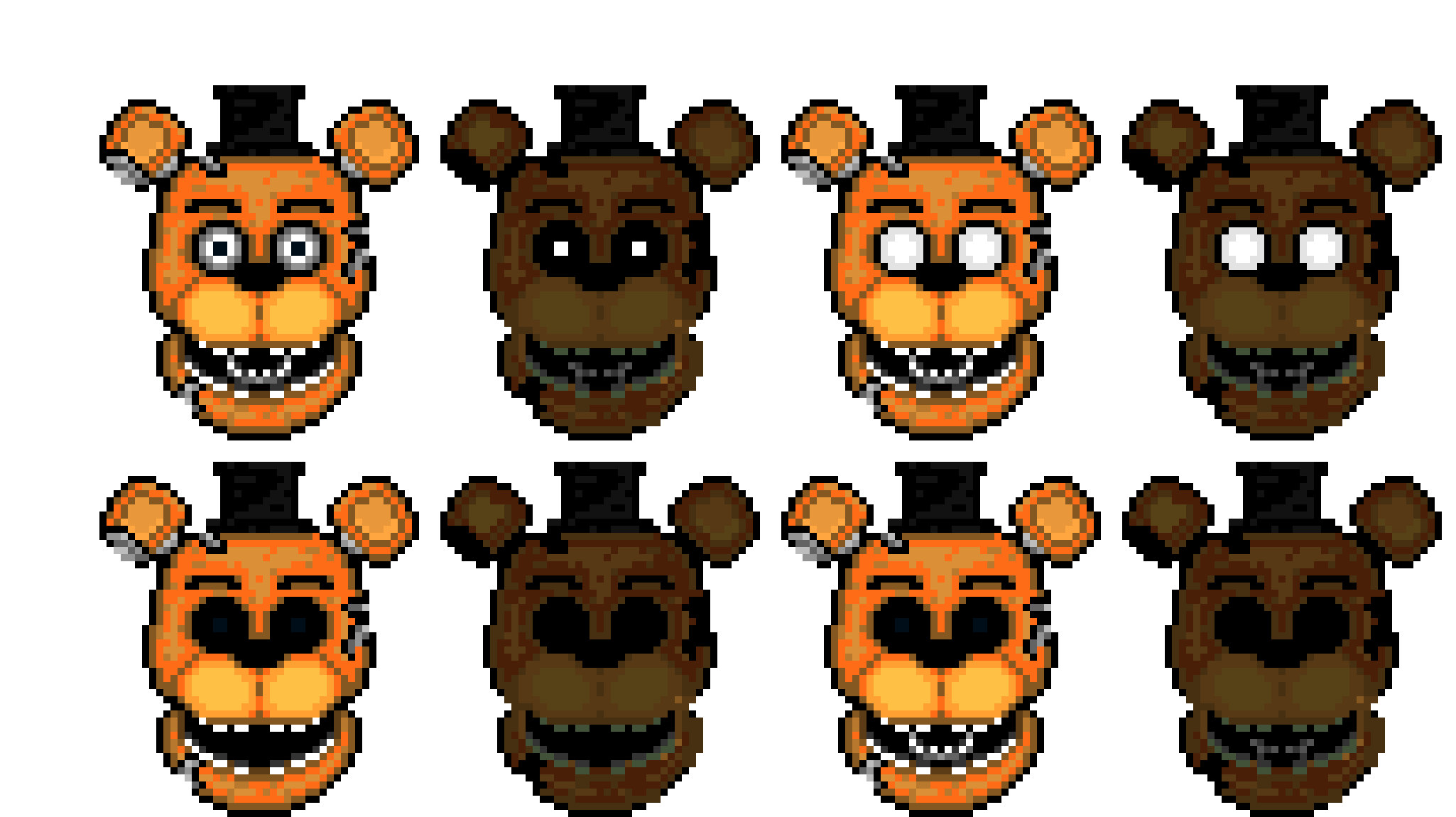 Withered Freddy and Phantom Freddy | Pixel Art Maker