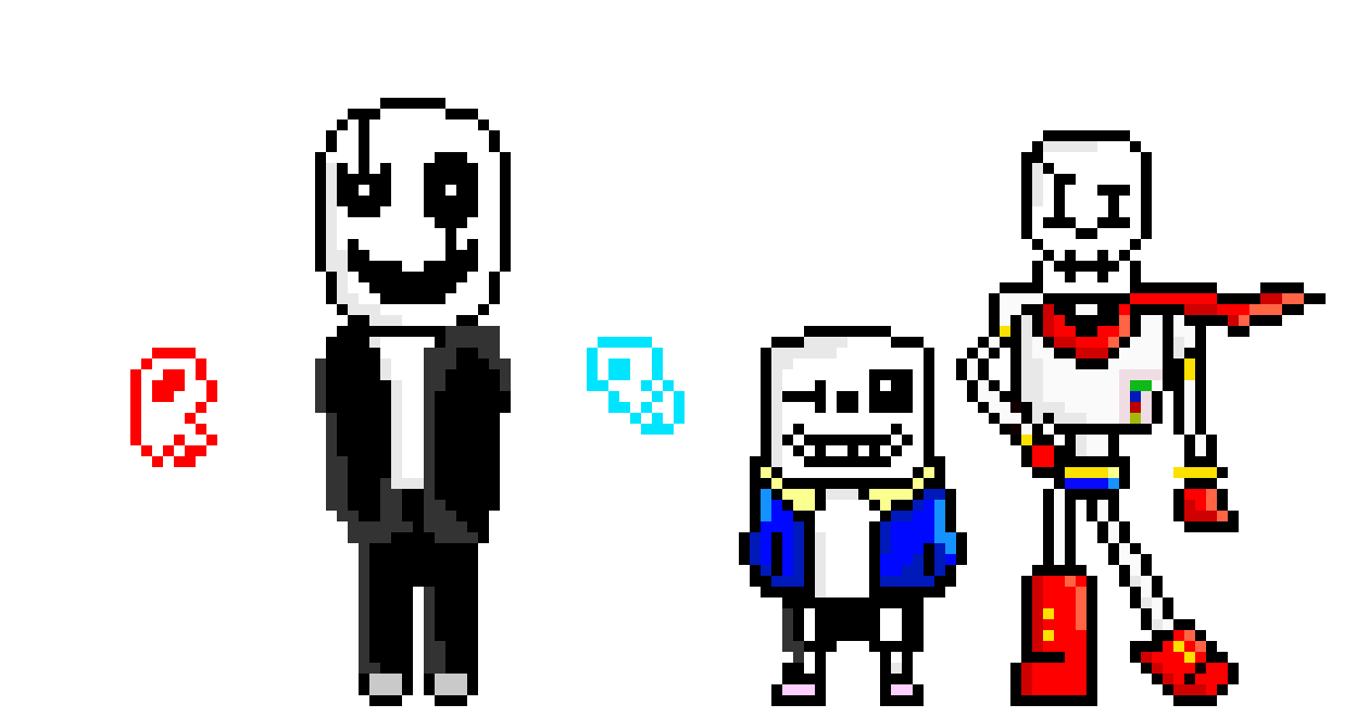 Sans Papyrus Gaster Overworld Reboot Pixel Art Maker