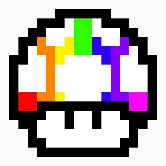 Rainbow Mario Mushroom Pixel Art Pixel Art Maker