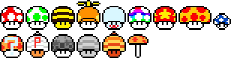 Almost Every Mario Mushroom Ever Pixel Art Maker