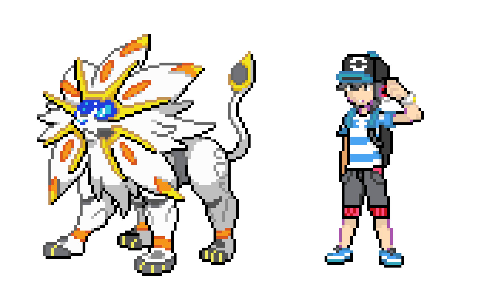 Trainer And Solgaleo Pixel Art Maker