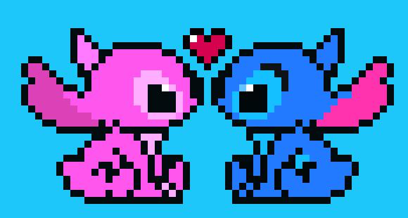 Stitch And Angel Pixel Art Maker