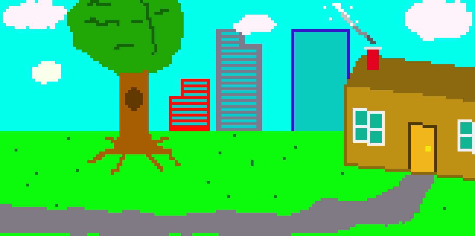 science frame: bus outside | Pixel Art Maker