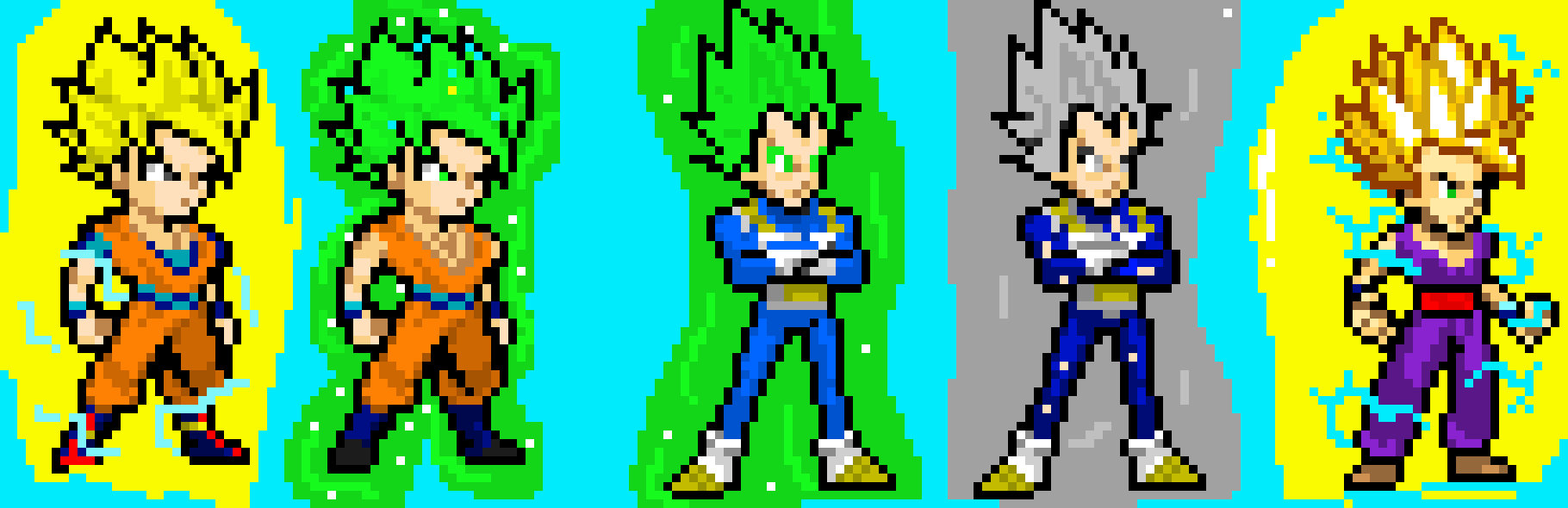 Super Saiyan Green Goku And Vegeta And Super Saiyan 1 And 2