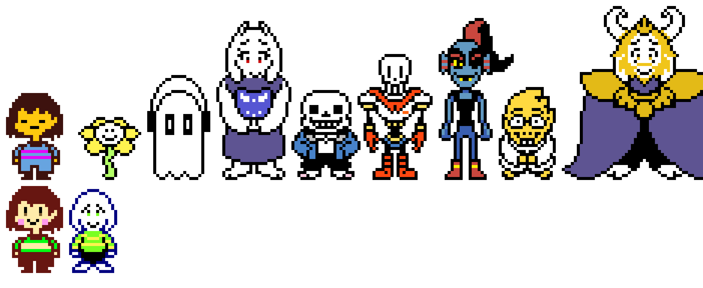 [1550b] UNDERTALE - (mostly) All Main Characters Cast Overworld Sprites