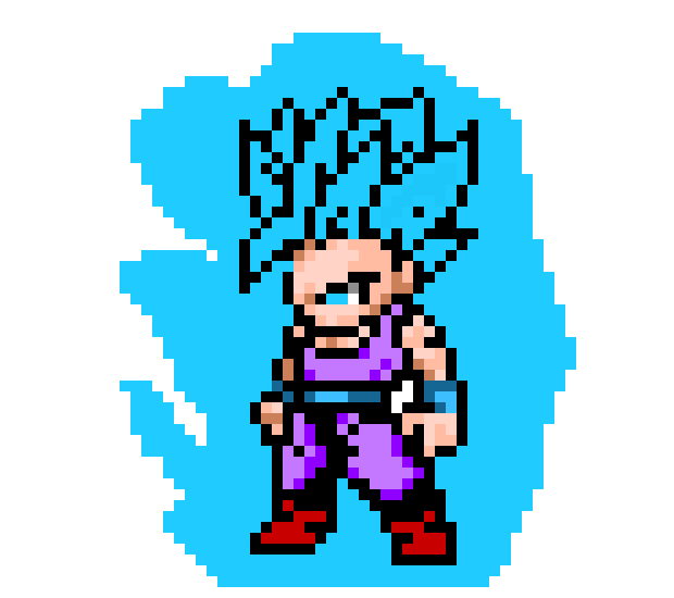 Kid Gohan Super Saiyan Blue Pixel Art Maker